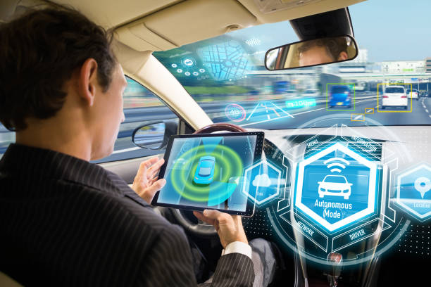 Futuristic interface of autonomous car. Self driving vehicle. Driverless car. stock photo