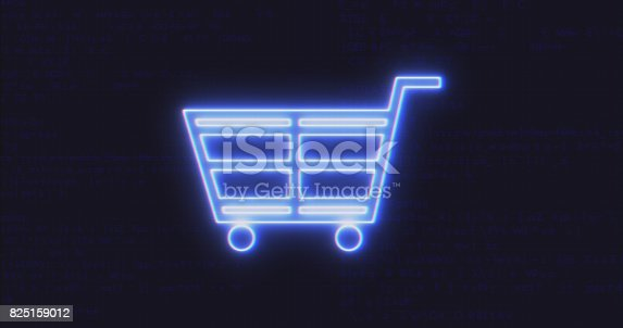 istock Futuristic Interface Shopping Cart Icon on Computer Code Background 825159012