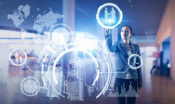 futuristic interface. smart city and future lifestyle. - business woman hologram imagens e fotografias de stock