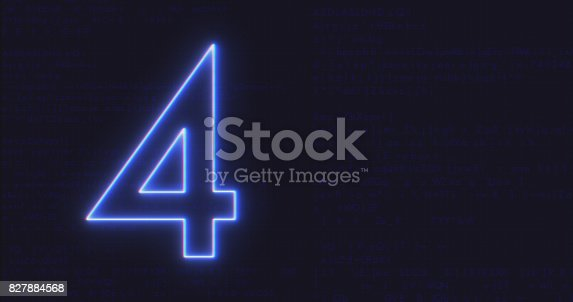 istock Futuristic Interface Text Number 4 on Computer code running Background 827884568