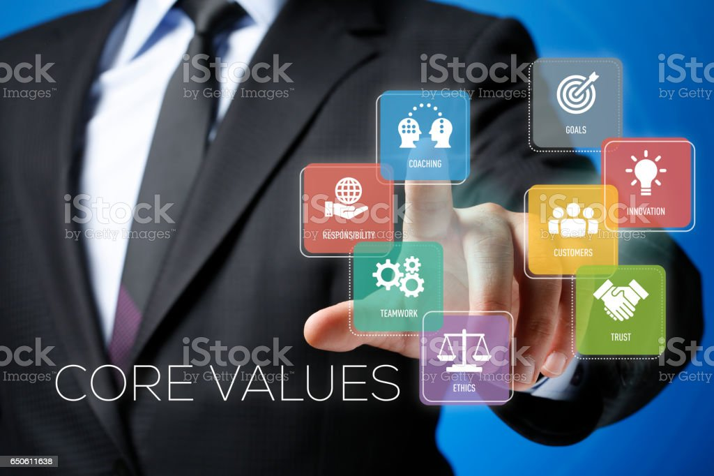Futuristic Interface Touch Screen Concept:Core Values stock photo