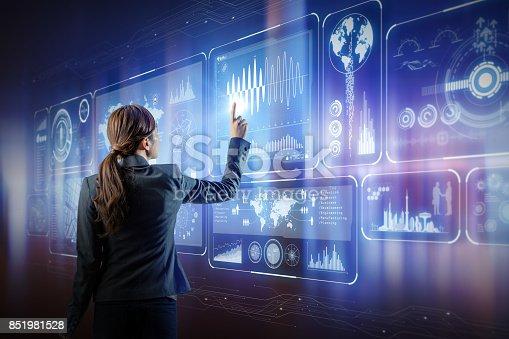 istock futuristic interface. woman engineer touching virtual screens. 851981528