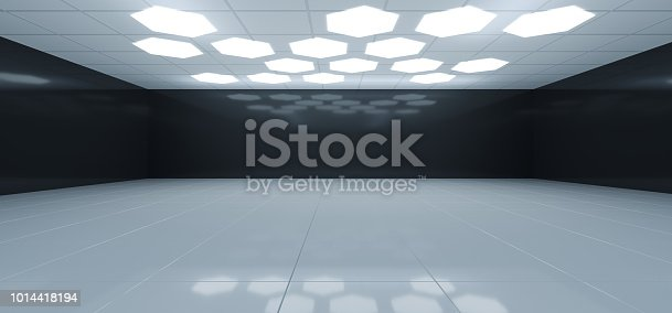 967676748 istock photo Futuristic Interior Black And White Room With Hexagon Shaped White Lights On The Ceiling With Empty Space Wall 3D Rendering 1014418194