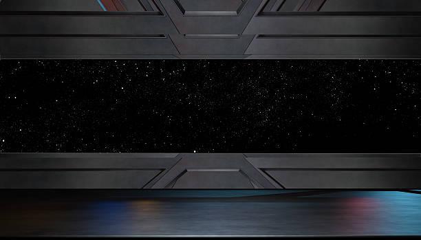 futuristic interior corridor stage.3d rendering - vaisseau spatial photos et images de collection