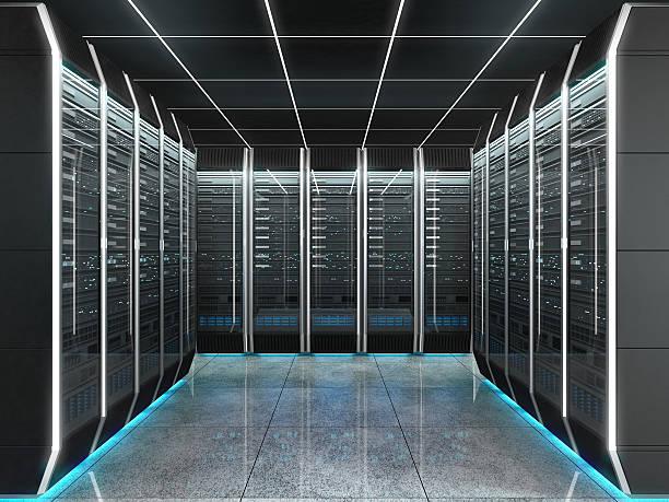 futuristic interior of server room in datacenter - présentateur photos et images de collection