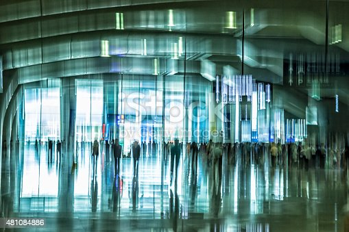istock Futuristic Interior With Motion Blurred Walking People 481084886