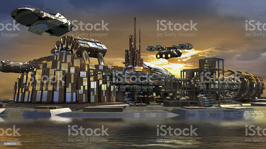 Futuristic island city with hoovering aircrafts stock photo