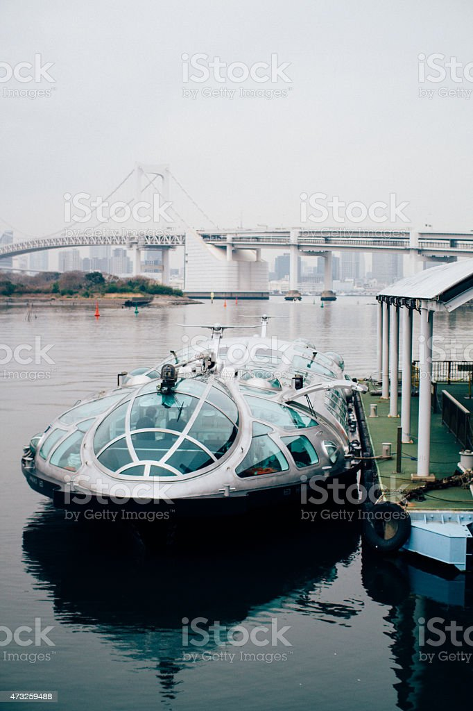 Futuristic Japonese ferry boat in the wharf. stock photo