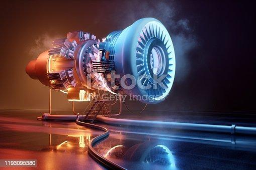 istock Futuristic Jet Engine Engineering Concept 1193095380