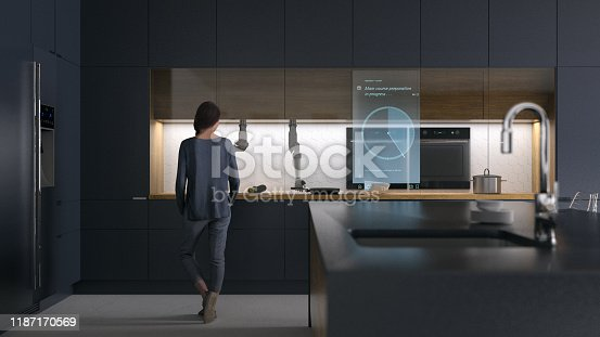Modern kitchen with automated smart cooking appliances
