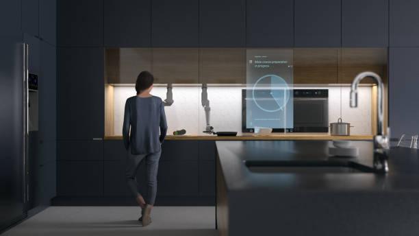 Futuristische Küche bei Nacht – Foto