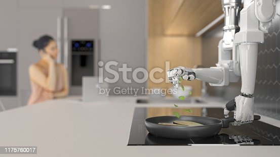 Robot chef preparing a meal in a modern kitchen