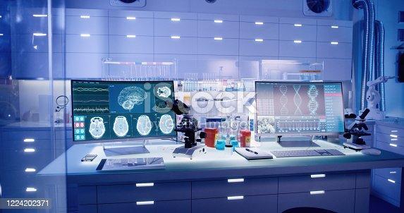 Modern laboratory interior. Neurological Research Laboratory