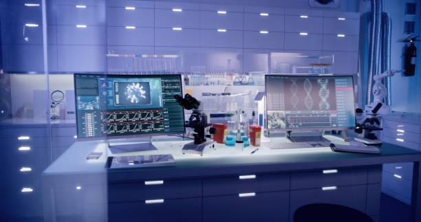 Futuristic laboratory equipment - brainwave scanning research stock photo