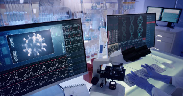 Futuristic laboratory equipment - coronavirus testing stock photo