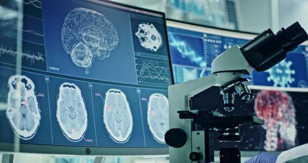 Futuristic laboratory equipment - coronavirus testing. Studying virus damage to the brain stock photo