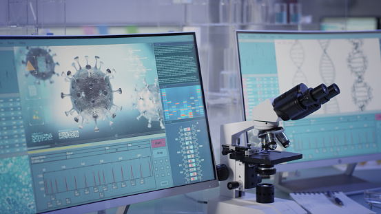 Futuristic laboratory equipment - fighting with coronavirus