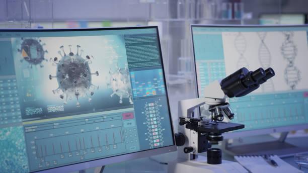 Futuristic laboratory equipment - fighting with coronavirus stock photo