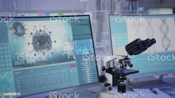 Futuristic Laboratory Equipment Fighting With Coronavirus Stock Photo - Download Image Now