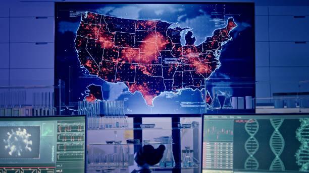 Futuristic laboratory. Virus spreading level on USA map. Big outbreaks of disease stock photo
