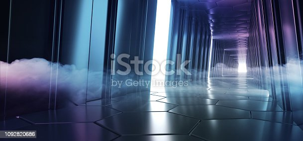 973972612istockphoto Futuristic Led Glowing Reflection Tunnel Room With Smoke And Fog Empty Space For Text Sci Fi Elegant Alien Ship Background Hi Tech 3D Rendering 1092820686