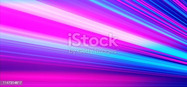 Geometric background. Moving energy. Retro neon colors. Colorful backdrop. Neon lights. Pink and blue.