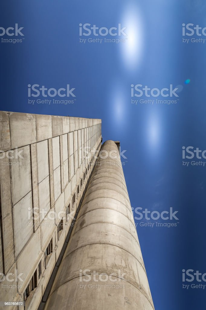 Futuristic look of western city gate city of Belgrade stock photo