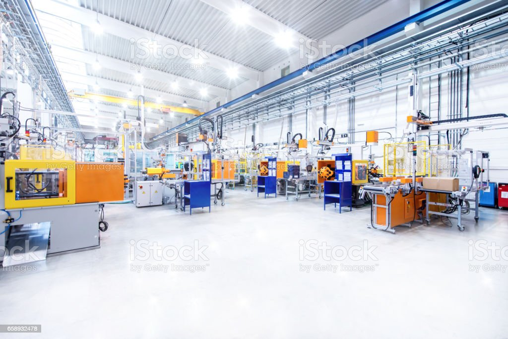 Futuristic machinery in modern production line stock photo