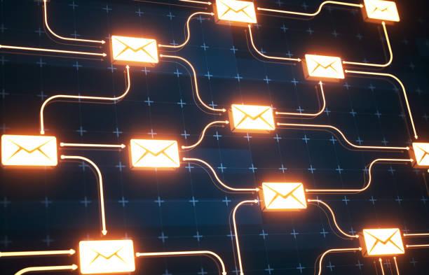 미래지향적인 메일 연결 배경 - 전자메일 뉴스 사진 이미지