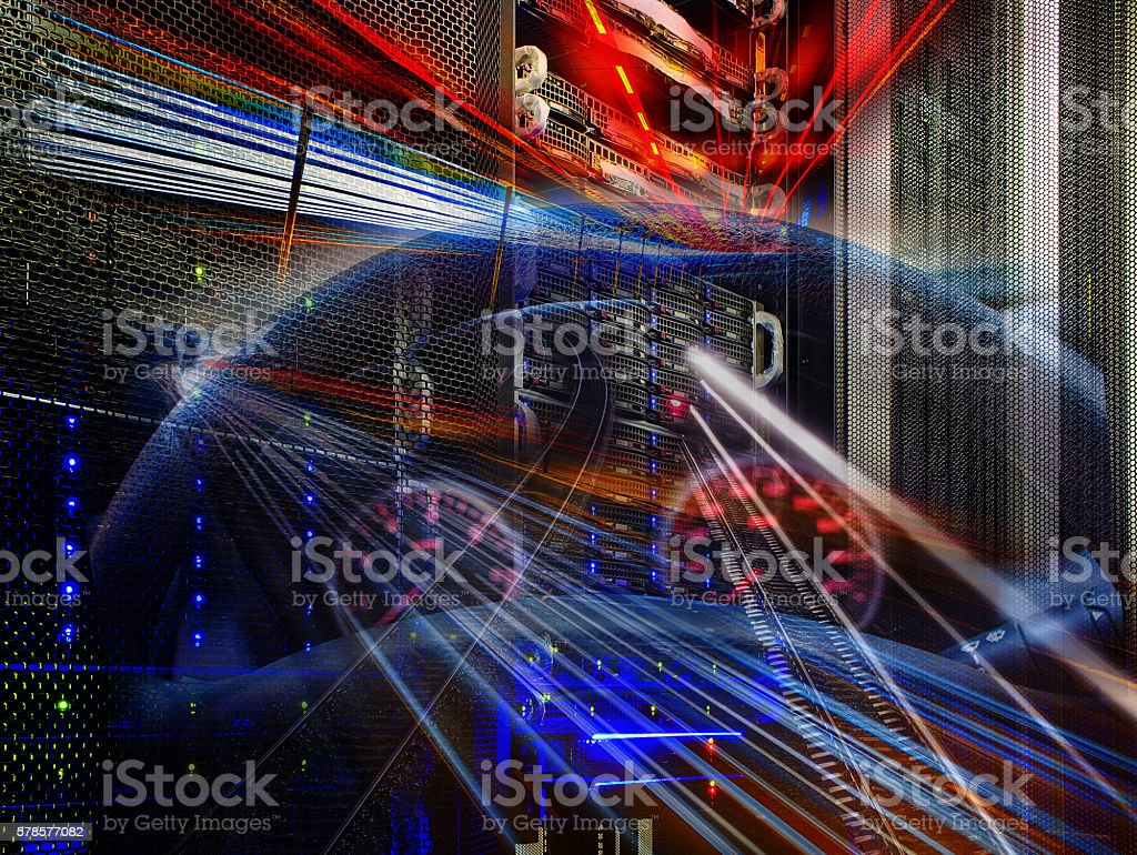 futuristic mainframe disk storage in the data center speed stock photo
