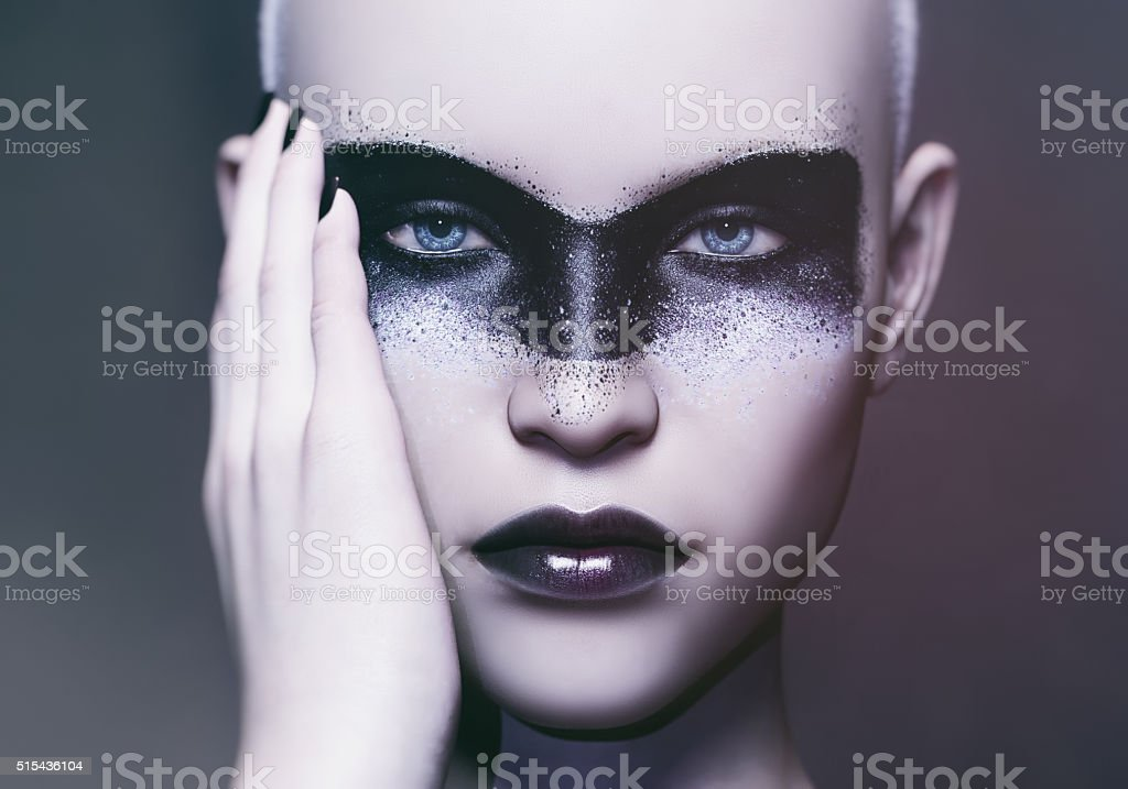futuristic makeup art stock photo