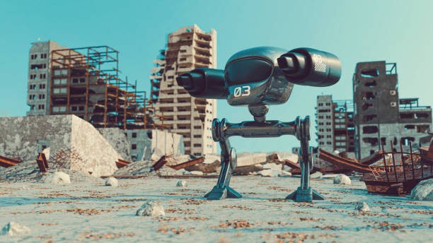 Futuristic mech warrior with weapons stands in the middle of demolished city stock photo