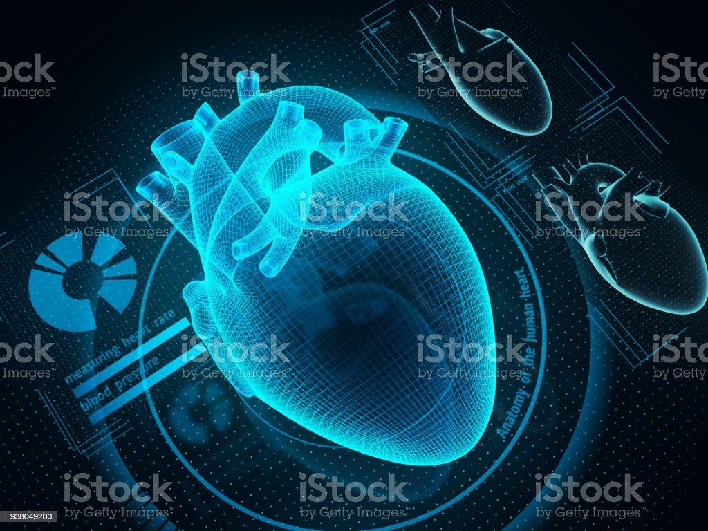 Futuristic medicine and healthcare technologies concept. The human heart diagnostic through artificial inteligence technology. Sci-fi medicine. 3d illustration. Artificial Stock Photo
