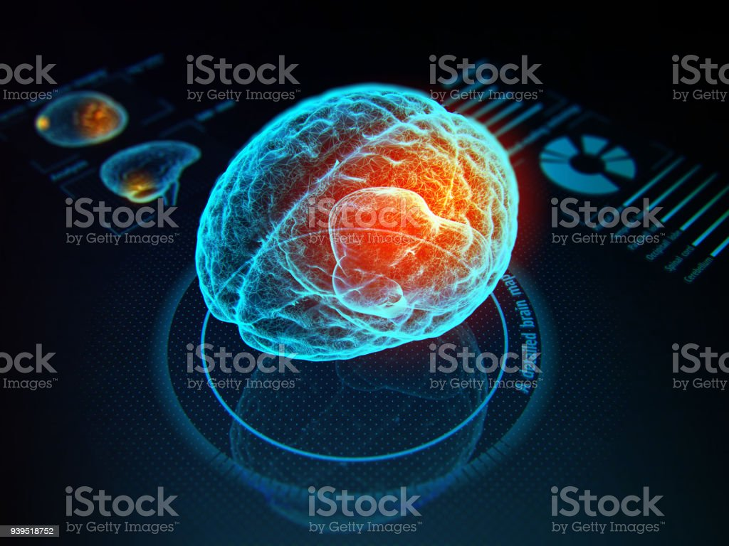 Futuristic medicine concept. Virtual digital diagnostic of human brain on holographic model. 3d illustration. Activity Stock Photo