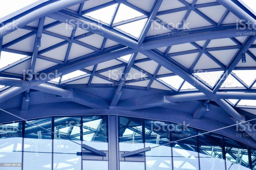 Futuristic metal roof of railway station in Łódź Fabryczna