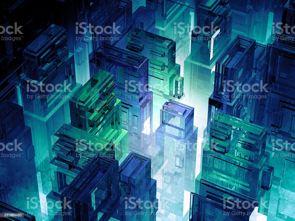 Futuristic micro chip city. stock photo