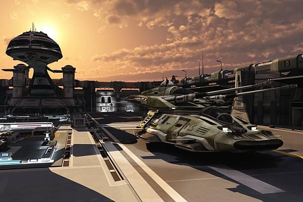 Futuristic military base and antigravity tank stock photo