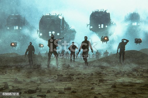 Futuristic military invasion at night.