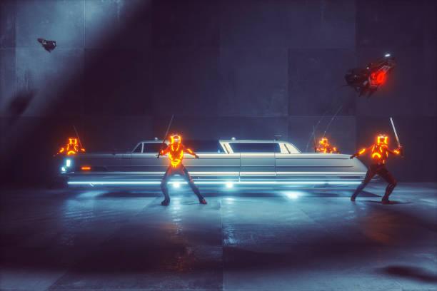 futuristische mob limo mit cyborgs schutz - ninja krieger stock-fotos und bilder
