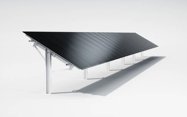 Futuristisch, moderne und ästhetische schwarze monokristalline Solar Panel System auf weißem Hintergrund. 3D Illustration. – Foto