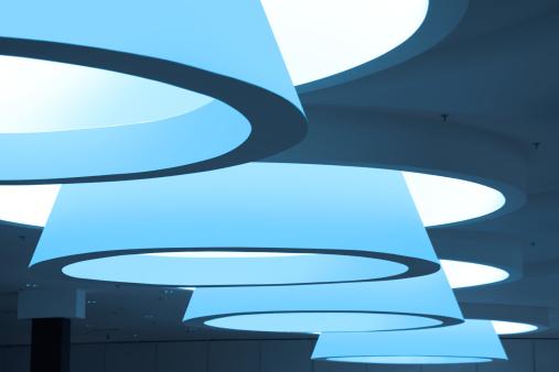 Futuristic modern blue ceiling interior