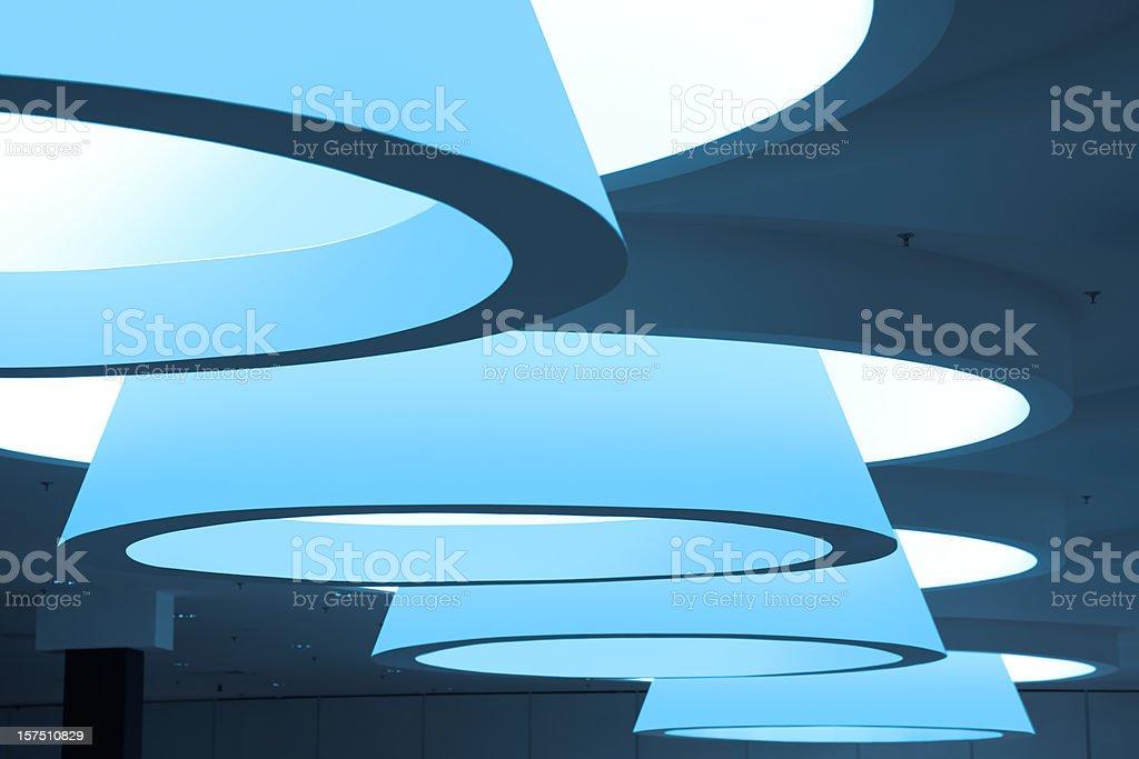 Futuristic modern blue ceiling interior stock photo