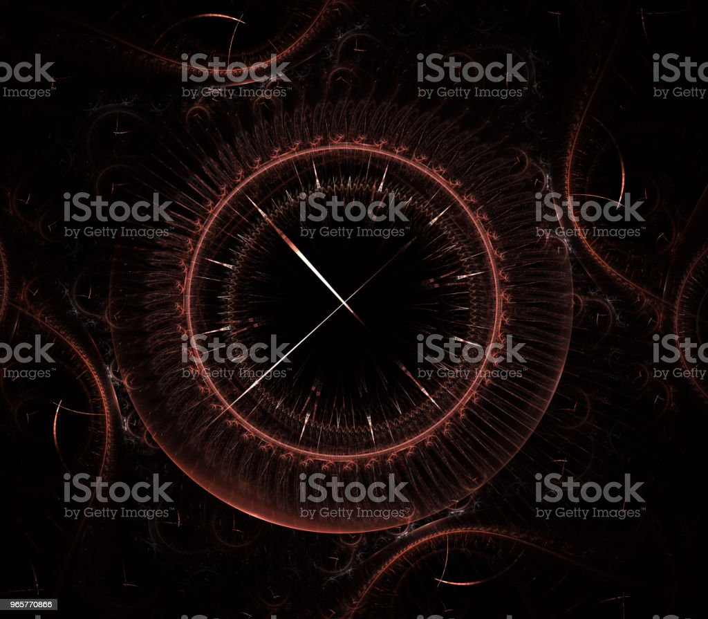 Futuristische moderne klok horloge abstracte fractal surrealistisch. Ongewone abstracte textuur patroon fractal achtergrond. Moderne stijlvolle fractal effect horloge. Kerst-klok. Multi-gekleurde uurwerk - Royalty-free Abstract Stockfoto