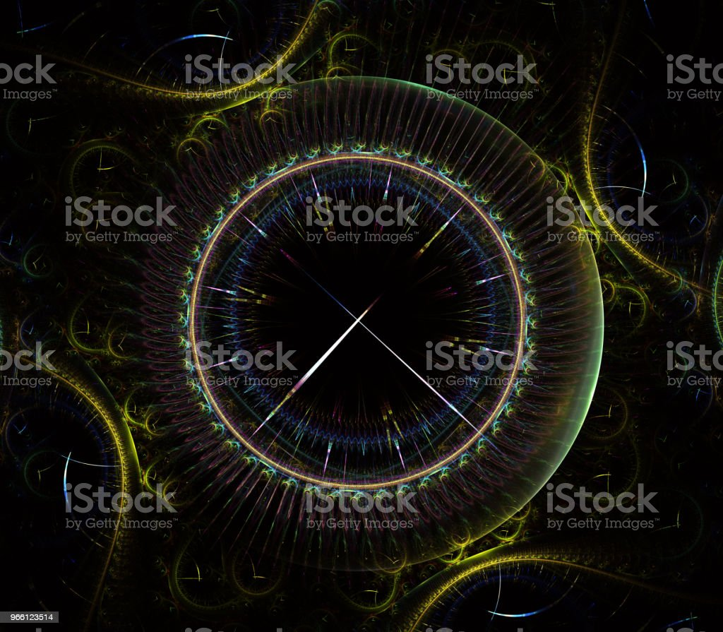 Futuristic modern clock watch abstract fractal surreal. Unusual abstract texture pattern fractal background. Modern stylish fractal effect watch. Christmas clock. Multi-colored clockwork - Royalty-free Antique Stock Photo