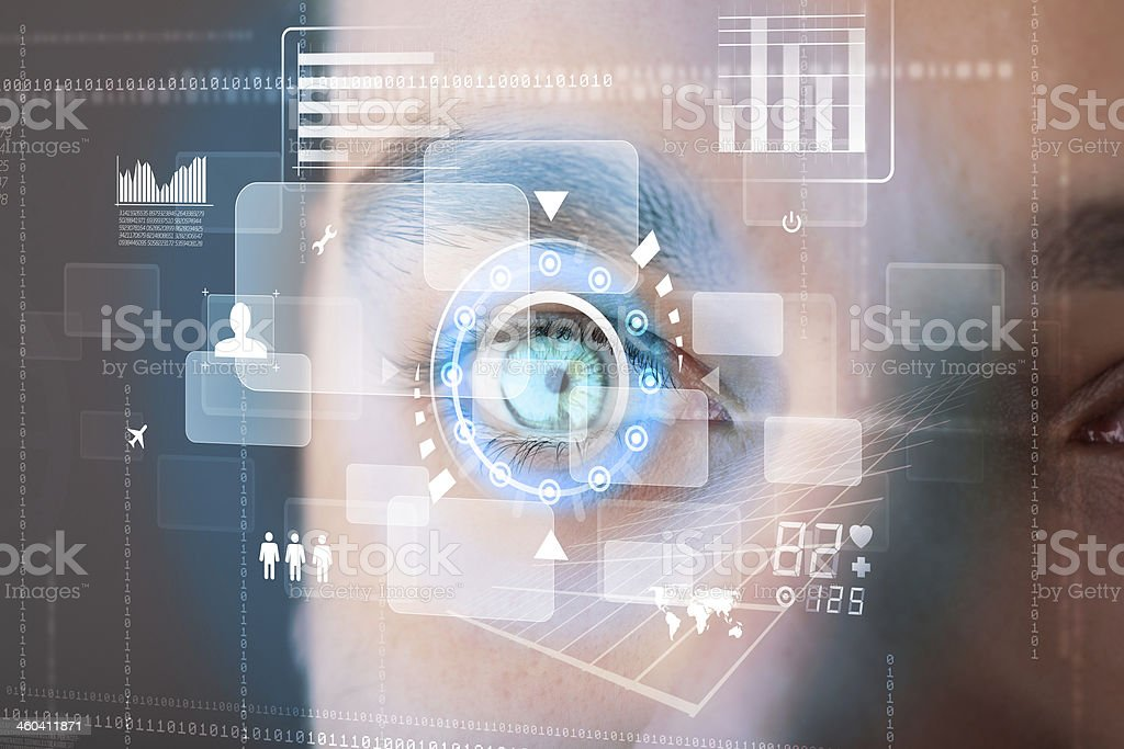 Futuristic modern cyber man with technology screen eye panel stock photo
