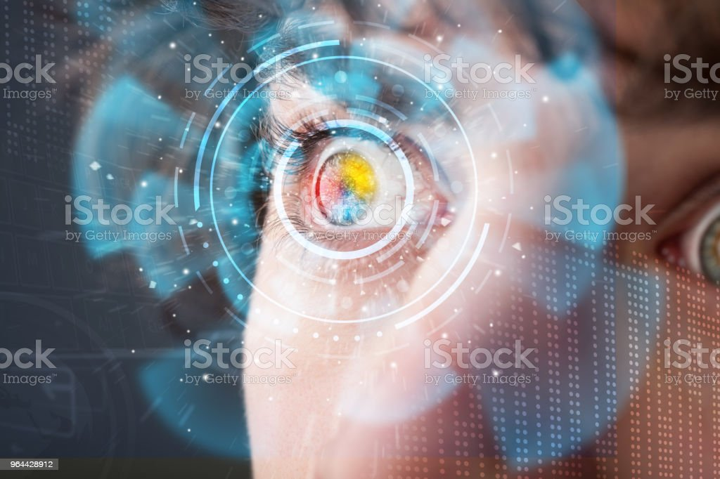 Futuristic modern cyber man with technology screen eye panel - Royalty-free Accessibility Stock Photo