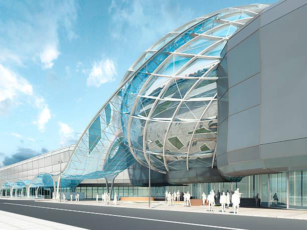Futuristic modern design mega mall glass and steel. stock photo