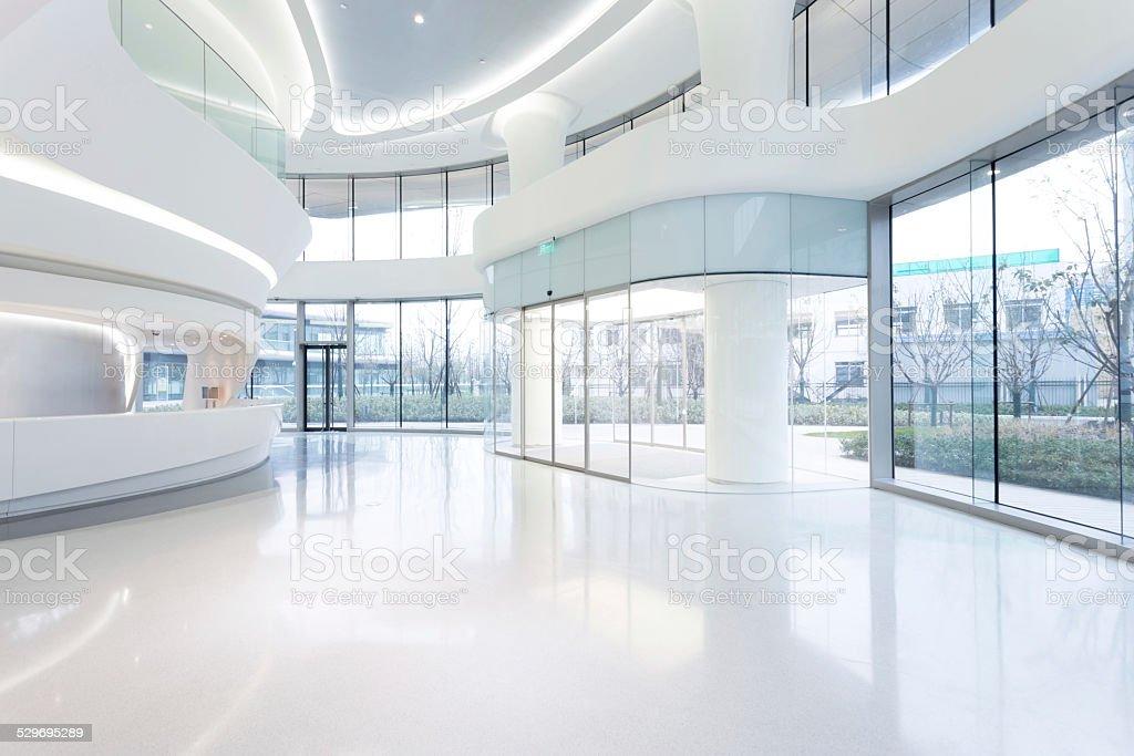 futuristic modern office building interior in urban city stock photo