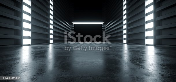 909529832 istock photo Futuristic Modern Sci Fi Concrete Hallway Corridor Tunnel Warehouse Underground Garage Grunge Dark Empty Reflection Showcase Stage White Blue Glow Spaceship 3D Rendering 1149612937