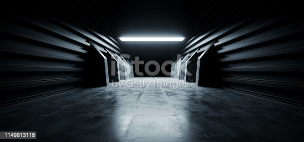 909529832 istock photo Futuristic Modern Sci Fi Concrete Hallway Corridor Tunnel Warehouse Underground Garage Grunge Dark Empty Reflection Showcase Stage White Blue Glow Spaceship 3D Rendering 1149613118